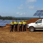 Installers at large solar battery system