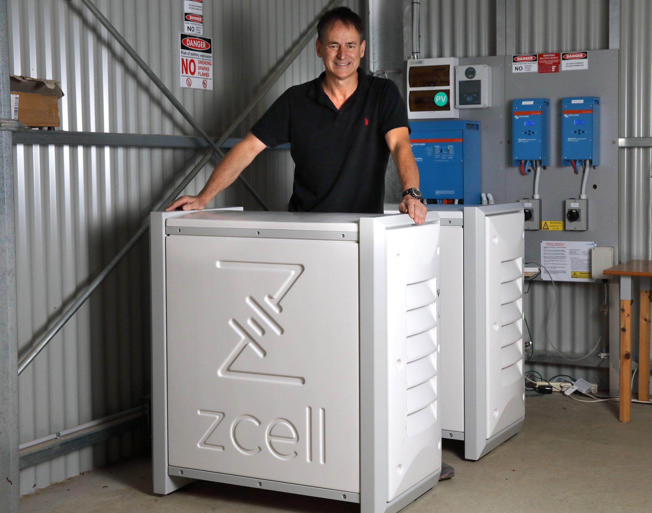 Alan Noble with his ZCell batteries