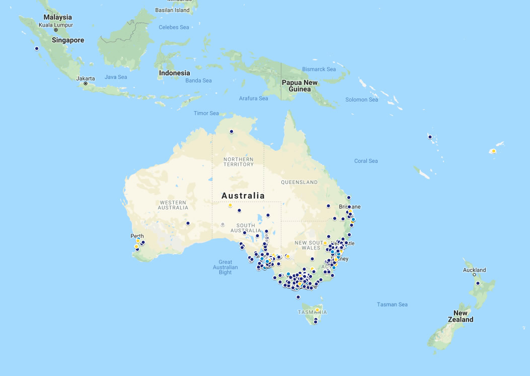 Map showing locations of our renewable energy installs