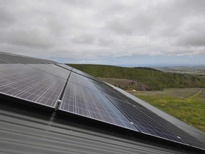 The solar array on the roof of Alan Noble's shed at his property at Willunga, south of Adelaide which power his ZCell batteries